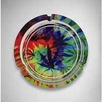 Tye Dye Pot Leaf Glass Ashtray - Spencer's