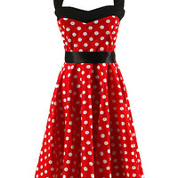Red Polka Dot Halter A-Line Pleated Mini Dress with Belt