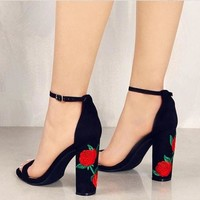 Thick Rose Heel Sandals -3 Color Options-
