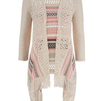 Open Stitch Blanket Cardigan With Fringe - Pink