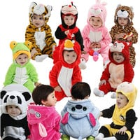 Newborn Infant Animal Romper Baby Costume Hooded Flannel Infant Romper Toddler Jumpsuit Clothes Boy Girl Baby Animal Romper Suit
