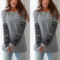 Fshion Womens Round Neck Long Sleeve Knitted Pullover Jumper Loose Sweater Knitwear Tops = 1946120068