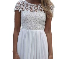 Voglee- Women's Lace Crochet Embroidered Pleated Tulle Chiffon Dress