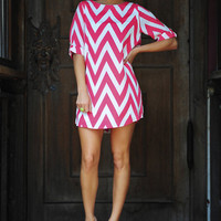 RESTOCK: Everly Joy For Chevron Dress: Pink | Hope's