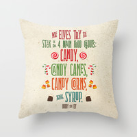 Buddy the Elf! The Four Main Food Groups Throw Pillow by Noonday Design
