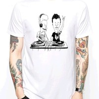 2018 New Fashion Brand Clothing Funny cotton T shirt Short sleeve BEAVIS DJ MUSIC BAND CARTOON COMIC RAVE TECHNO Tee shirts