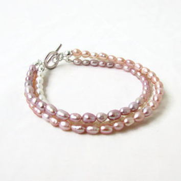 Freshwater pearl bracelet, peach, bronze and white pearl bridal bracelet, pearl jewelry, gift for her, wedding jewelry, handmade in the UK