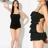 Womens Tiered Ruffles Monokini One-piece Backless Swimwear