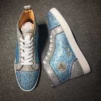 Cl Christian Louboutin Rhinestone Mid Strass Style #1918 Sneakers Fashion Shoes - Best Deal Online