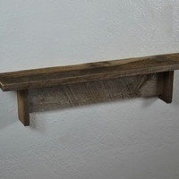 "Brown and gray wall shelf from reclaimed wood 22"" wide,4"" deep"