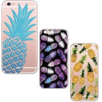 Juicy Pineapple Soft Silicon Phone Cover Clear Thin Case For Apple iPhone 6 6S Three Color Choices