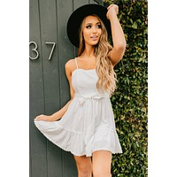 More Than Basic Tie Waist Dress (Off White)
