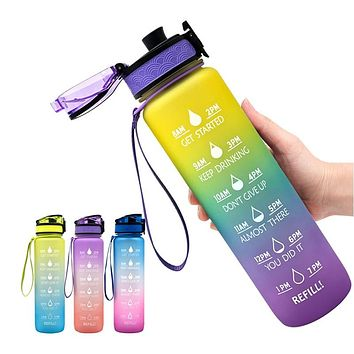 1000ml Outdoor Water Bottle with Straw Sports Bottles Hiking Camping Plastic drink bottle BPA Free