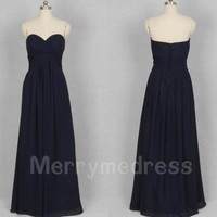 Navy Blue Ruffled Sweetheart Strapless Long Bridesmaid Celebrity Dress, Chiffon Formal Evening Party Prom Dress New Homecoming Dress