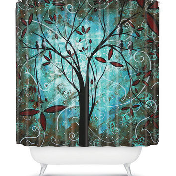 Teal Romantic Evening Shower Curtain