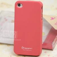 Happymori Slim Fit Silicon Case for Apple Iphone 4 - Peach Pink with Free Screen Protector and Cleaning Cloth