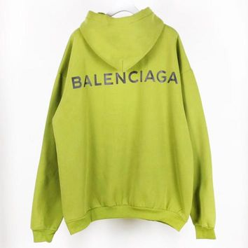 Balenciaga high quality new back letter print couple keep warm hooded long sleeve sweater top Green