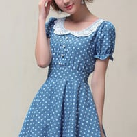 ROMWE | Dot Print Denim Blue Dress, The Latest Street Fashion