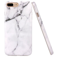 iPhone 7 Plus Case, JAHOLAN White Marble Design Slim Shockproof Clear Bumper TPU