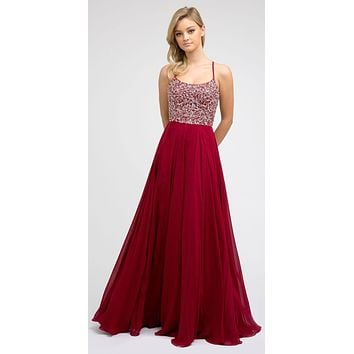 Burgundy Long Beaded Prom A-Line Dress Strappy-Open-Back