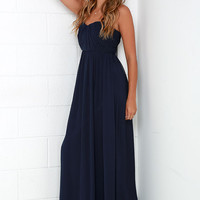 Draw Her In Navy Blue Strapless Maxi Dress