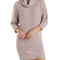 Cloud Gray Slouchy Cowl Neck Sweater Dress by Charlotte Russe