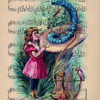 The Caterpillar Meets Alice Original Illustrated Print on Antique Upcycled Sheet Music