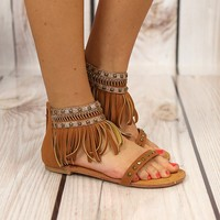 Python Fringe Sandals by Not Rated