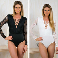 Deep V-Neck Lace Stitching Knitted Body Suit in Black or White