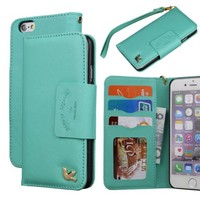 iPhone 6 Case,(4.7),[Upgraded-Opened Volume and Power Button Ports,no Break Issues] By HiLDA,Wallet Case,PU Leather Case,Credit Card Holder,Flip Cover Skin[Mint Green]