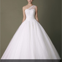 White organza one-shoulder floor length wedding dress,wedding gown with 4000pcs crystal