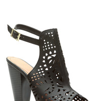 Black Faux Leather Laser Cut Ankle Strap Chunky Heels