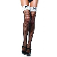 Women Black Fishnet and White Lace Sexy Stockings Over the Knee Thigh High Stockings Women Pantyhose Bow Womens Sexy Lingerie