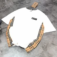 BURBERRY Women Men Casual Logo Plaid Joining Together Short Sleeve T-Shirt