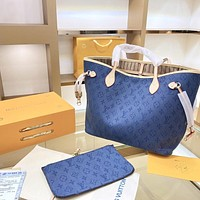 LV simple canvas women's large-capacity shopping bag two-piece
