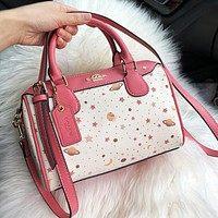COACH Fashion Women Shopping Leather Handbag Tote Shoulder Bag Crossbody Satchel White&Pink