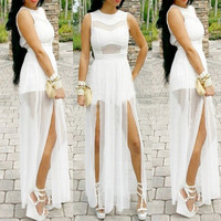 White Party Maxi Dress Also Available In Plus Sizes