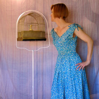 Vintage 50s Sun Dress Day Dress with Shoulder Bows by ChatteJolie