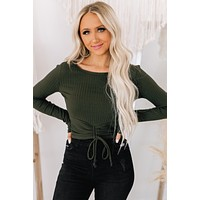 Enough For You Ribbed Long Sleeve Top (Olive)