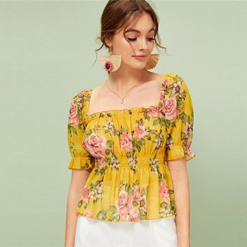Floral Print Frill Trim Peplum Top Women Flared Shirred Blouses Boho Ginger Ruffle Hem Womens Tops and Blouses