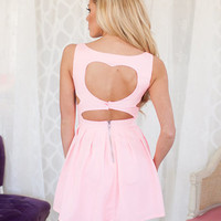 Sweet Little Heart in the Back Dress Pink