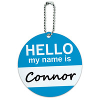 Connor Hello My Name Is Round ID Card Luggage Tag
