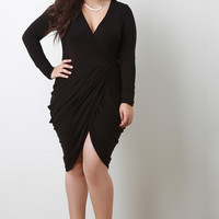 Plus Size Long Sleeve Cocktail Dress