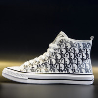 Free shipping-Dior 2019 new high-top women's canvas shoes