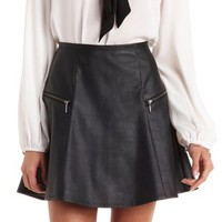 Black Zipper-Trim Faux Leather Skater Skirt by Charlotte Russe