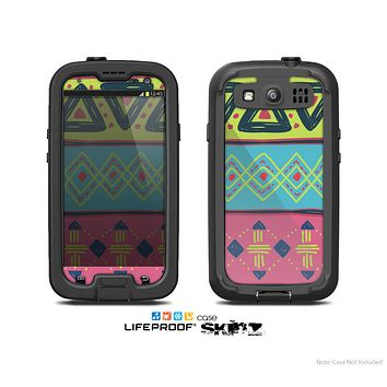 The Vector Sketched Yellow-Teal-Pink Aztec Pattern Skin For The Samsung Galaxy S3 LifeProof Case
