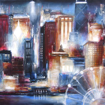 """Chicago Skyline Art Print - """"Chicago From the Lake"""""""