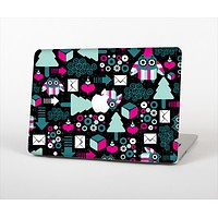"""The Pink & Teal Owl Collaged Vector Shapes Skin Set for the Apple MacBook Pro 13"""" with Retina Display"""