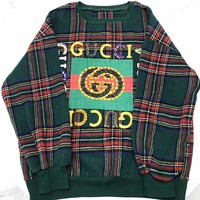 GUCCI New fashion letter stripe print high quality women long sleeve top sweater Green