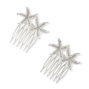Silver and Crystal Starfish Hair Combs Set of 2
